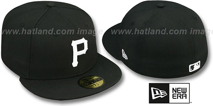Pirates 'TEAM-BASIC' Black-White Fitted Hat by New Era : pictured without stickers that these products are shipped with