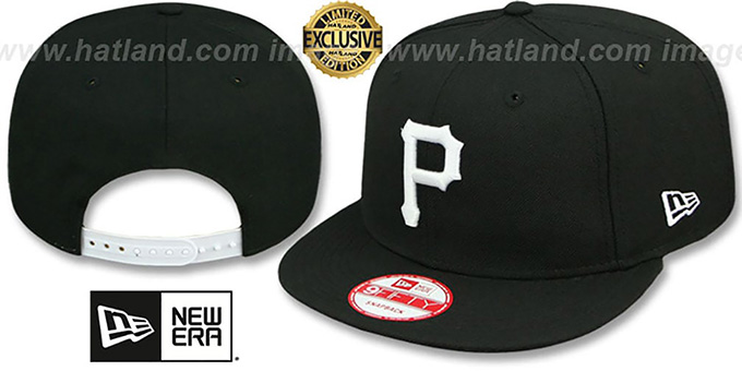 Pirates 'TEAM-BASIC SNAPBACK' Black-White Hat by New Era : pictured without stickers that these products are shipped with