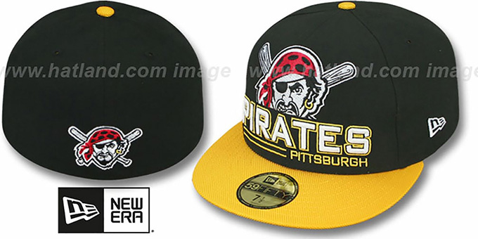 Pirates 'TECH MARK' Black-Gold Fitted Hat by New Era : pictured without stickers that these products are shipped with