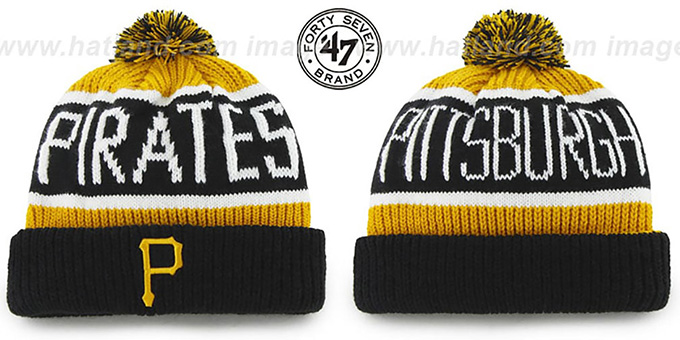 Pirates 'THE-CALGARY' Black-Gold Knit Beanie Hat by Twins 47 Brand : pictured without stickers that these products are shipped with
