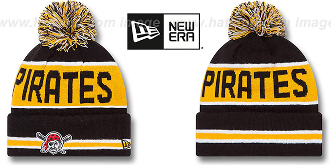 Pirates 'THE-COACH' Black Knit Beanie Hat by New Era : pictured without stickers that these products are shipped with