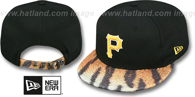 Pirates 'TIGER ANIMALISTIC-FUR VIZA STRAPBACK' Hat by New Era : pictured without stickers that these products are shipped with