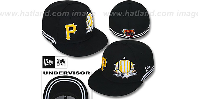 Pirates 'TWO-BIT' Black-White Fitted Hat by New Era : pictured without stickers that these products are shipped with