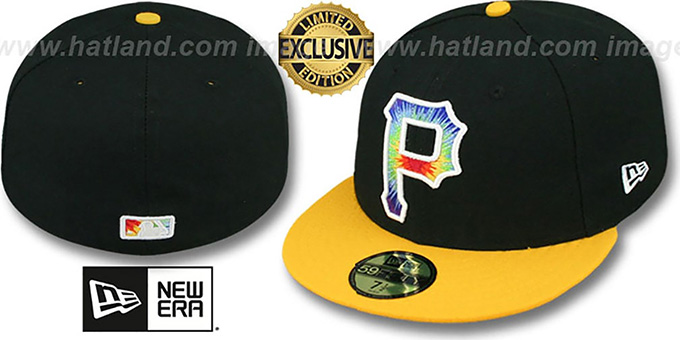 Pirates 'TYE-DYE INSIDER' Black-Gold Fitted Hat by New Era : pictured without stickers that these products are shipped with