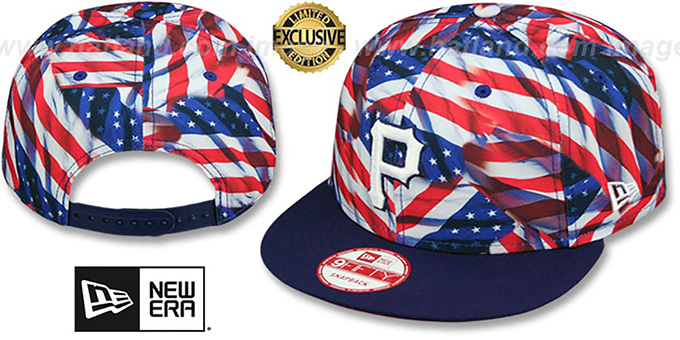 Pirates 'USA WAVING FLAG SNAPBACK' Flag-Navy Hat by New Era : pictured without stickers that these products are shipped with