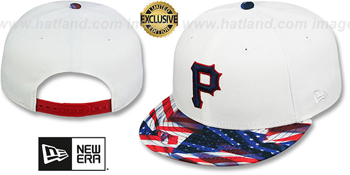 Pirates 'USA WAVING FLAG SNAPBACK' White-Flag Hat by New Era : pictured without stickers that these products are shipped with