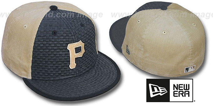 Pirates 'WEAVE-N-CORD' Fitted Hat by New Era - black-tan : pictured without stickers that these products are shipped with