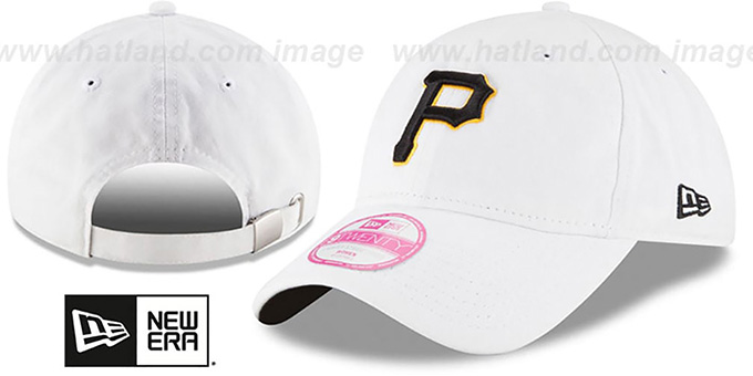Pirates 'WOMENS PREFERRED PICK STRAPBACK' White Hat by New Era : pictured without stickers that these products are shipped with