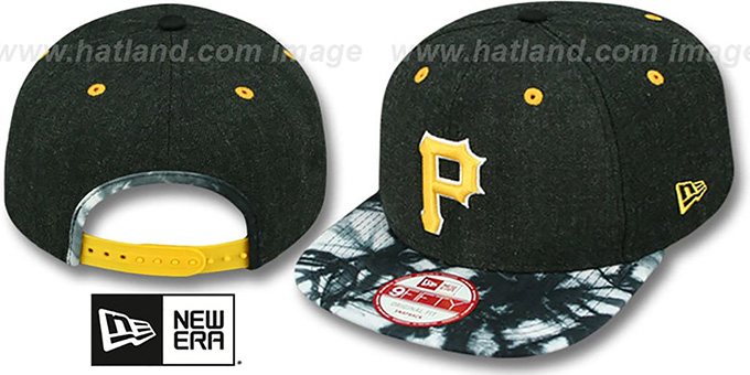 Pirates 'ZONE-VIZE SNAPBACK' Black Hat by New Era : pictured without stickers that these products are shipped with