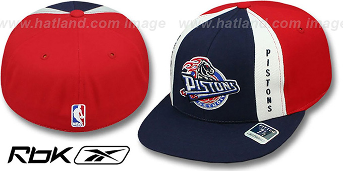Pistons 'AJD THROWBACK PINWHEEL' Navy-Red Fitted Hat by Reebok : pictured without stickers that these products are shipped with