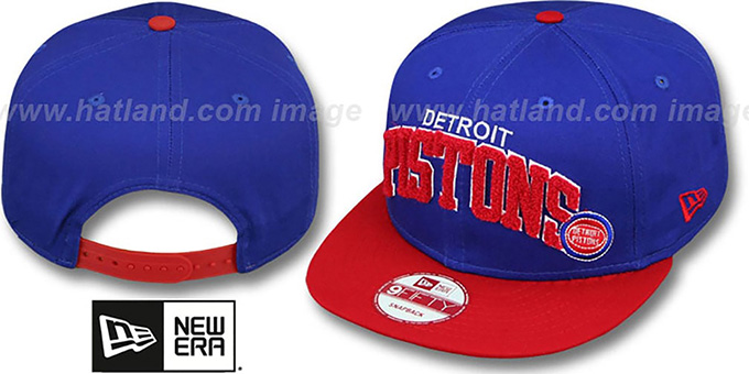 Pistons 'CHENILLE-ARCH SNAPBACK' Royal-Red Hat by New Era : pictured without stickers that these products are shipped with