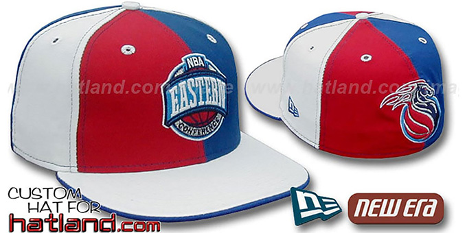 Pistons CONFERENCE 'PINWHEEL' Red-Royal-White Fitted Hat : pictured without stickers that these products are shipped with