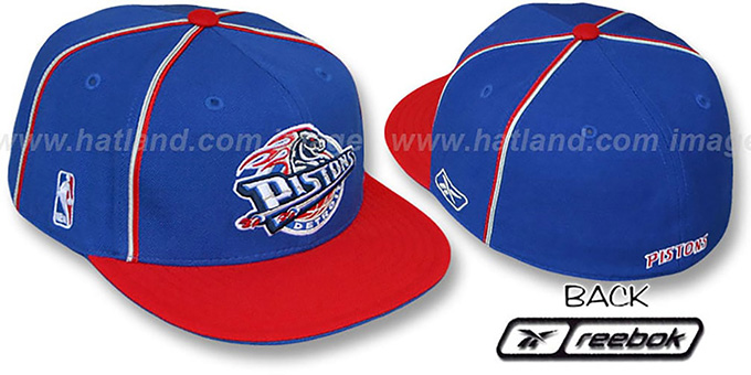 Pistons 'CROSS TAPED' Fitted Hat by Reebok : pictured without stickers that these products are shipped with