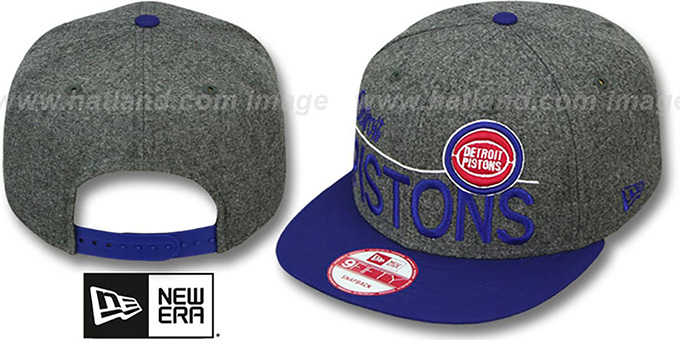 Pistons 'FLANNEL SNAPBACK' Grey-Royal Hat by New Era : pictured without stickers that these products are shipped with