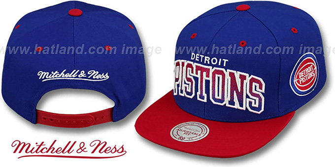 fc4947e9a79 Detroit Pistons GRADIANT-ARCH SNAPBACK Royal-Red Hat by Mitchell
