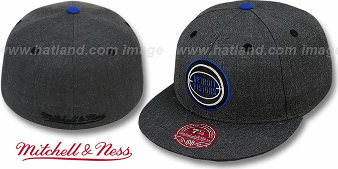 Pistons 'GREY HEDGEHOG' Fitted Hat by Mitchell & Ness : pictured without stickers that these products are shipped with