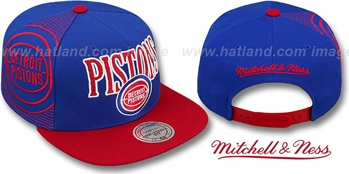 Pistons 'LASER-STITCH SNAPBACK' Royal-Red Hat by Mitchell & Ness : pictured without stickers that these products are shipped with