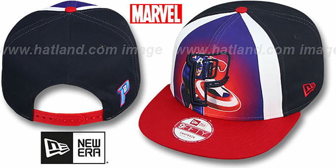 Pistons 'MARVEL RETRO-SLICE SNAPBACK' Navy-Red Hat by New Era : pictured without stickers that these products are shipped with