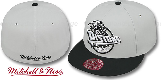 Pistons 'MONOCHROME XL-LOGO' Grey-Black Fitted Hat by Mitchell & Ness : pictured without stickers that these products are shipped with