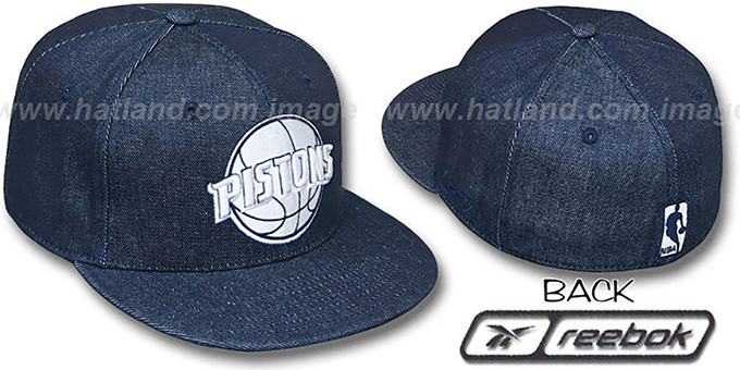 Pistons NAVY 'DENIM' Fitted Hat by Reebok : pictured without stickers that these products are shipped with
