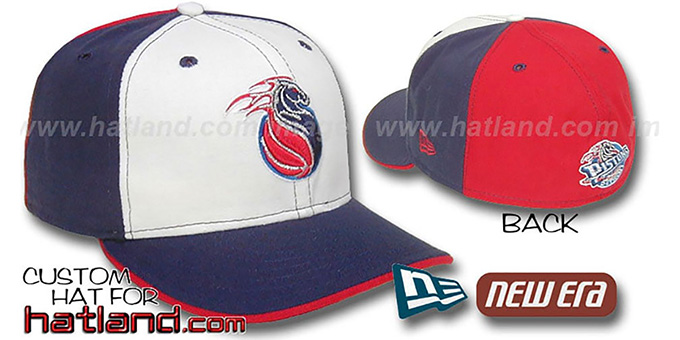 Pistons 'PINWHEEL' White-Navy-Red Fitted Hat : pictured without stickers that these products are shipped with