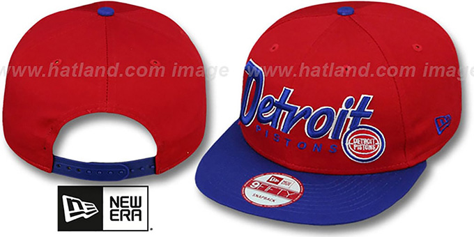 Pistons 'SNAP-IT-BACK SNAPBACK' Red-Royal Hat by New Era : pictured without stickers that these products are shipped with