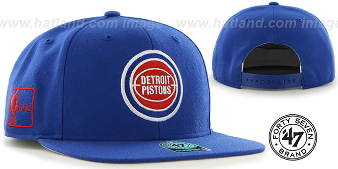 Pistons 'SURE-SHOT SNAPBACK' Royal Hat by Twins 47 Brand : pictured without stickers that these products are shipped with