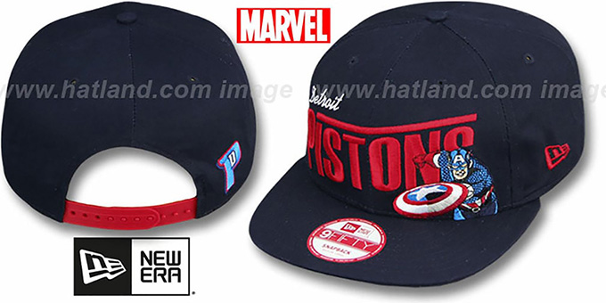 Pistons 'TEAM-HERO SNAPBACK' Navy Hat by New Era : pictured without stickers that these products are shipped with