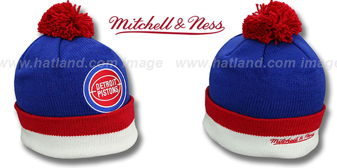 Pistons 'XL-LOGO BEANIE' Royal by Mitchell and Ness : pictured without stickers that these products are shipped with