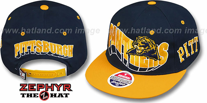 Pitt '2T FLASHBACK SNAPBACK' Navy-Gold Hat by Zephyr : pictured without stickers that these products are shipped with