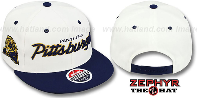 Pitt '2T HEADLINER SNAPBACK' White-Navy Hat by Zephyr : pictured without stickers that these products are shipped with