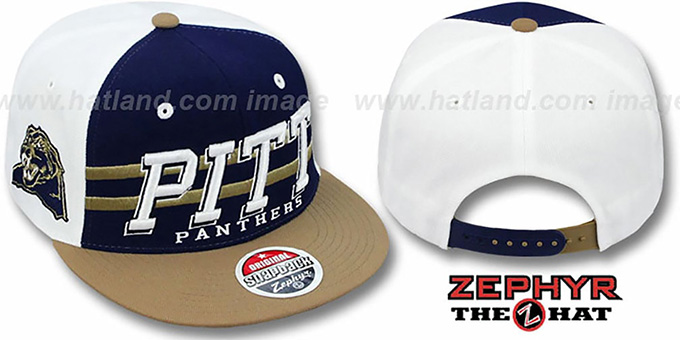 Pitt '2T SUPERSONIC SNAPBACK' Navy-Gold Hat by Zephyr : pictured without stickers that these products are shipped with