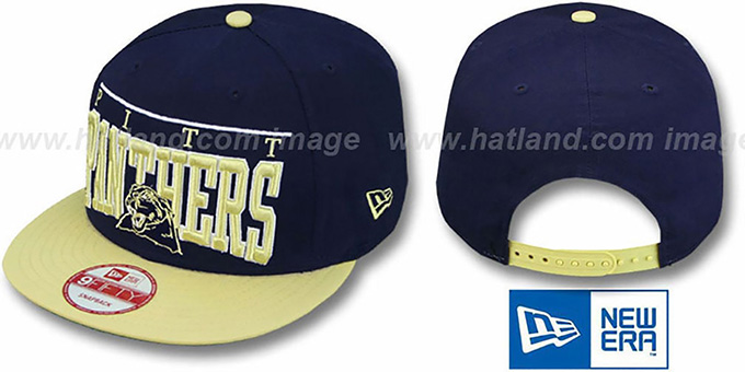Pitt 'LE-ARCH SNAPBACK' Navy-Gold Hat by New Era : pictured without stickers that these products are shipped with