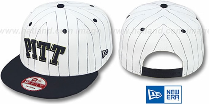 Pitt 'PINSTRIPE BITD SNAPBACK' White-Navy Hat by New Era : pictured without stickers that these products are shipped with