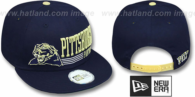 Pitt 'RETRO-SNAPBACK' Navy Hat by New Era : pictured without stickers that these products are shipped with