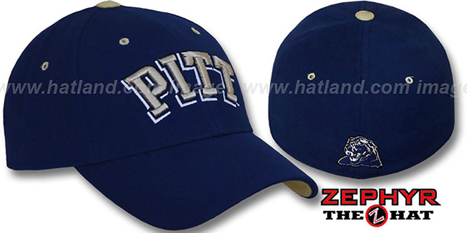 Pittsburgh 'DH' Fitted Hat by Zephyr - navy : pictured without stickers that these products are shipped with