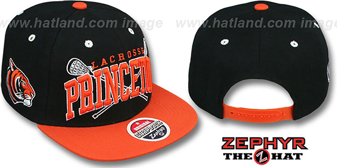 Princeton 'LACROSSE SUPER-ARCH SNAPBACK' Black-Orange Hat by Zephyr : pictured without stickers that these products are shipped with