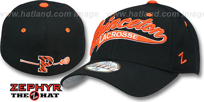 Princeton 'SWOOP LACROSSE' Black Fitted Hat by Zephyr : pictured without stickers that these products are shipped with