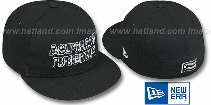Puerto Rico 'ASPHALT REGIME' Black Fitted Hat by New Era : pictured without stickers that these products are shipped with