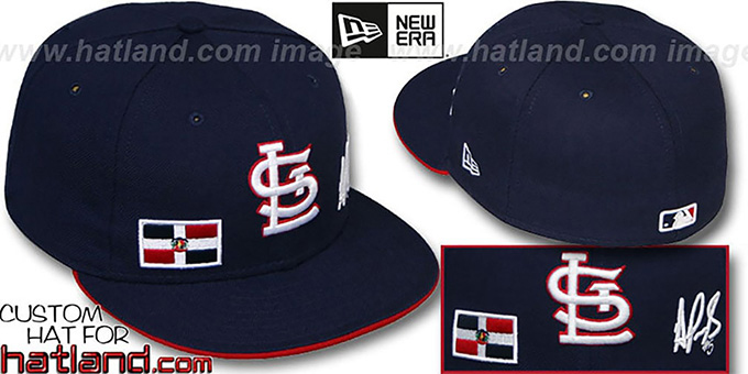 Pujols 'TRIPLE THREAT' Navy Fitted Hat by New Era : pictured without stickers that these products are shipped with
