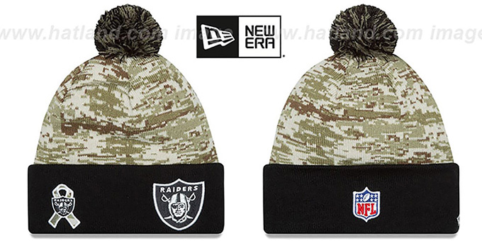 Raiders '2015 SALUTE-TO-SERVICE' Knit Beanie Hat by New Era : pictured without stickers that these products are shipped with