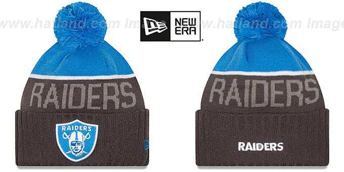Raiders '2015 STADIUM' Charcoal-Blue Knit Beanie Hat by New Era : pictured without stickers that these products are shipped with
