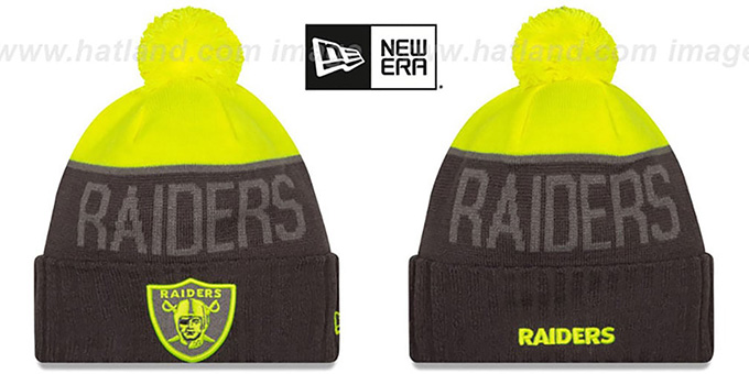 Raiders '2015 STADIUM' Charcoal-Yellow Knit Beanie Hat by New Era : pictured without stickers that these products are shipped with