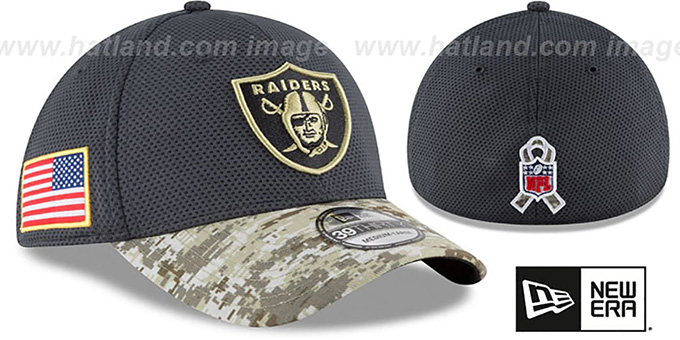 Raiders '2016 SALUTE-TO-SERVICE FLEX' Grey-Desert Hat by New Era : pictured without stickers that these products are shipped with