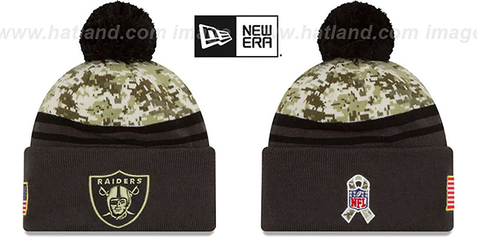 Raiders '2016 SALUTE-TO-SERVICE' Knit Beanie Hat by New Era : pictured without stickers that these products are shipped with