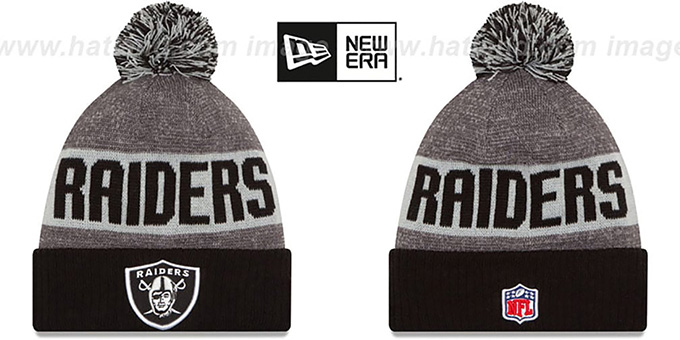 Raiders '2016 STADIUM' Black-Grey-Grey Knit Beanie Hat by New Era : pictured without stickers that these products are shipped with