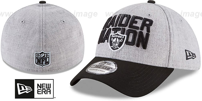 Raiders '2018 ONSTAGE FLEX' Grey-Black Hat by New Era : pictured without stickers that these products are shipped with