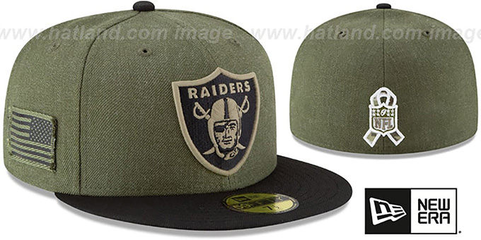 bc3717e2a Raiders  2018 SALUTE-TO-SERVICE  Olive-Black Fitted Hat by New