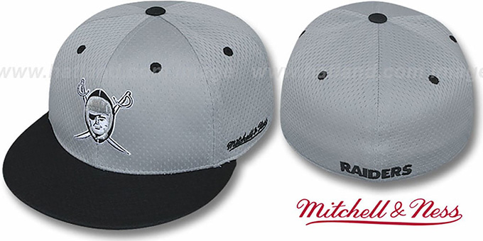 Raiders '2T BP-MESH' Grey-Black Fitted Hat by Mitchell & Ness : pictured without stickers that these products are shipped with