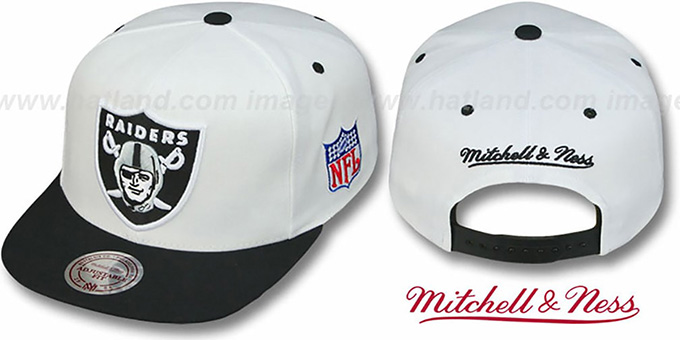 Raiders '2T XL-LOGO SNAPBACK' White-Black Adjustable Hat by Mitchell & Ness : pictured without stickers that these products are shipped with